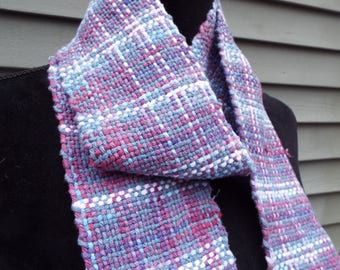 Hand-woven scarf, Purple Scarf, lightweight cotton scarf, Extra long scarf, hand-weaving, woven accessories, handmade, weaver, fall scarf