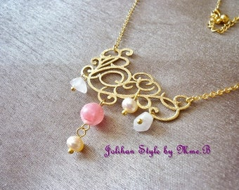 """""""Elegance"""" - gold plated necklace with rhodochrosite and Pearl Necklace"""