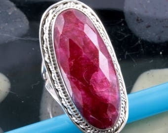 Ruby  and 925 Sterling Silver Ring  --  4554