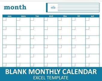 Blank Monthly Calendar - Blue   Printable Excel Calendar Template   Monthly Calendar   Instant Digital Download