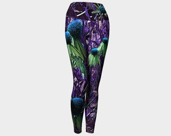 Purple Purpurea  Yoga Leggings XS S M L XL Floral Flower Echinacea Green Blue Pants Women Teen Ladies Clothes Exercise Wearable Art Clothing