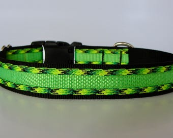 Dragonfly Paracord Dog Collar - Neon Green and Black - Ready to Ship!