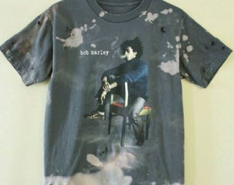 Bob Marley tee, T-shirt,bleached splatter,bleach, pantera, Distressed, Rasta,dred, Jamaica, one love,weed,mary Jane,herb,Babylon,smoke