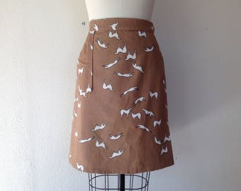 1960s Malia greyhound print skirt