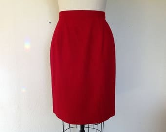 1980s Red wool pencil skirt