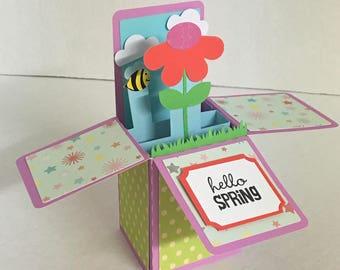 Hello Spring Box Card  , Flower , Bee , Clouds , Blank card , Guys , Gals , Kids , Teens , 3D , Grass