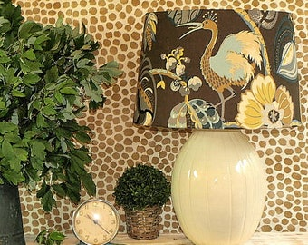 Large Australian Made Lamp Shade Brown/Blue and Ivory Floral, Tapered Drum, 33x38cm, 2 Fittings, Made to Order 1-2 weeks