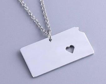 I heart Kansas Necklace - Kansas Pendant - State Charm - Map necklace - Map Jewelry
