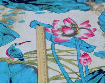 Chinese fabric Blue rose linen cotton Lotus 10 m