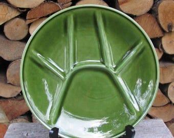"20% OFF Vintage Plate; BOCH La Louviere Belgium Plate; 9""/ 23 cm Green Sushi / Fondue Plate; Vintage Pottery"