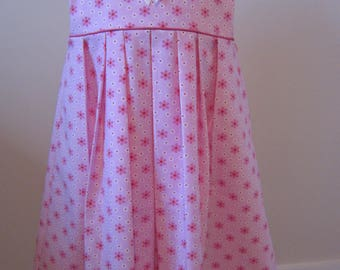 dress girl cotton pink and white daisy flowers