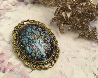 bronze medallion baroque brooch magical tree