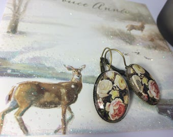 Earrings ' ear old pink glass cabochon Stud Earrings