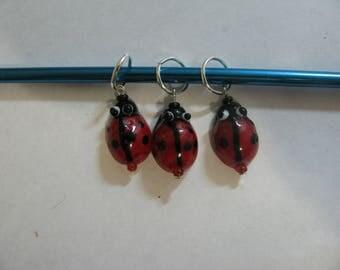 Set of 3 Ladybug Stitch Markers