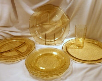 Federal Glass Patrician Spoke and Madrid Set: 3 Grill & 3 Luncheon Plates, Tumbler, Plus Cake Plate