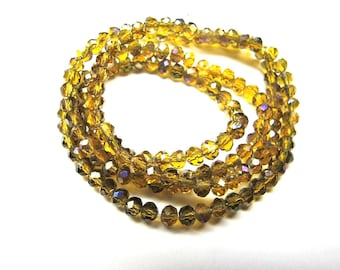 25 ROUND GLASS BEADS FACETED OLD AMBER GOLD IRIDESCENT 3 MM