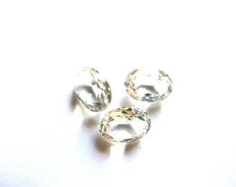 RHINESTONE CRYSTAL CLEAR OVAL CABOCHON HAS 6/8 MM FACETED