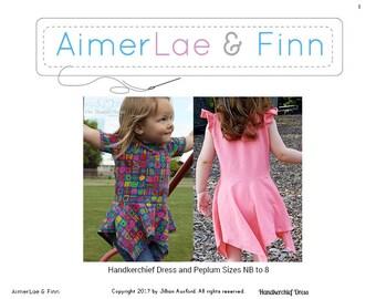 AimerLae & Finn Handkerchief Dress and Peplum size nb to 8