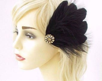 Black Gold Feather Fascinator Hair Clip Headpiece 1920s Flapper Vintage 3649