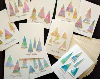 Handmade Christmas Cards watercolour trees Merry Christmas Set of 10