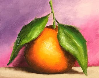 Clementine on pink Original Oil Painting still life by Jane Palmer