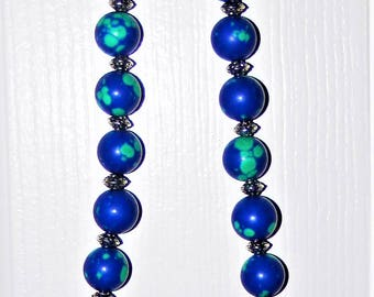 Lab Created Lapis and Silver Plated beaded Necklace