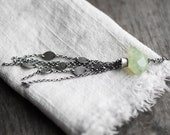Willow Necklace ( soft green prehnite gemstone nugget pendant. antique sterling silver. oxidized leaf print. oxidized chain fringe. )