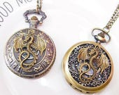 Vintage Dragon Monster Pocket Watch Necklace - Steampunk Dragon