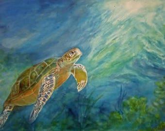 """Honu Turtle 8x11"""" Giclee Print"""