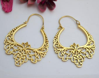 Hoop Earrings - Brass Earrings Nickel free - Boho earrings