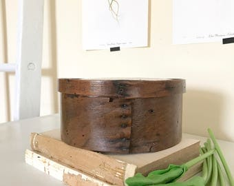 Vintage Round Wooden Cheese Box / Small Round Wood Box