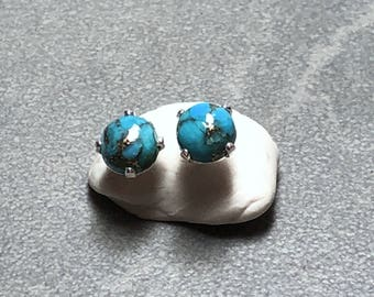 6mm Blue Copper Turquoise Gemstones Prong set with Sterling Silver Posts
