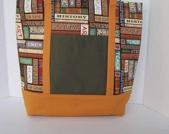 Tote Purse Women's Accessories Fabric Handmade Library Print Books Multi-Colored