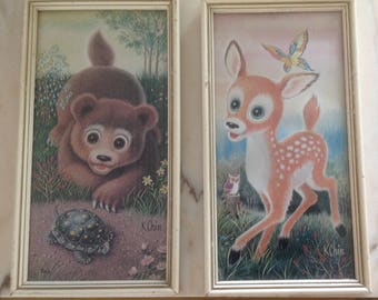 Mid Century K. Chin Print Set, Vintage K. Chin Prints, Vintage Children's Art Prints