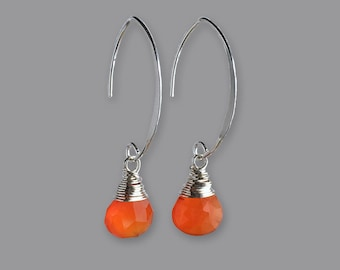 Earrings Gift Idea for Women - Orange Earrings for Women - Carnelian Earrings - Gemstone Earrings for Women - Sterling Silver