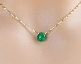 Green Jewelry Gift for Wife - Emerald Necklaces for Women - Birthstone Necklace May - Jewelry Ideas for Girlfriend  - Emerald Necklace