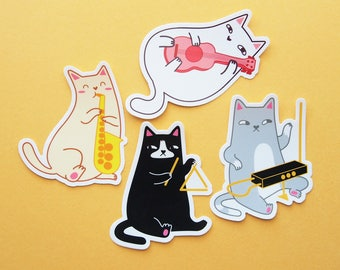 FOUR PACK Musical Cats Vinyl Stickers