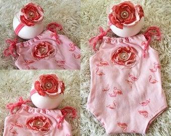 Pink/coral flamingo newborn romper with matching headband
