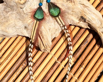 Boho feather earrings with turquoise stone