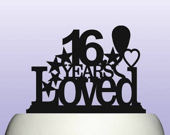 Acrylic Personalised Boy Girl 16th Birthday Years Loved Cake Topper Celebration Party Decoration