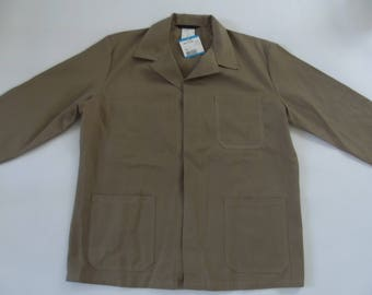 vintage working coat, work jacket, over coat, store coat, shop coat, khaki color, dead stock, size 56