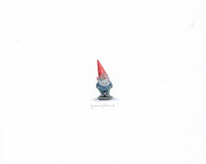 "Print of miniature painting of a Garden Gnome. 1 1/4""x1 1/4"" print of original Gnome painting on 5"" square german etching paper"