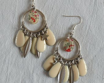 Boho Earrings - winds of Liberty - beige and cream