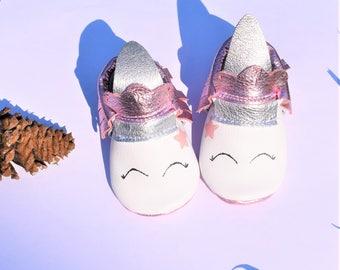 Unicorn Baby  Moccasins, Metallic Pink Unicorn Baby Moccasins, Unicorn Baby shoes, Unicorn Baby Gifts