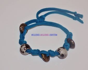 Original Bracelet! MOTHER EARTH! cotton jersey, with beads Adjustable Belicious Delicious Creation