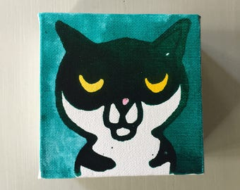 """Cat 01 Ink Painting on Mini Canvas 4""""x4"""" by Marius Valdes"""