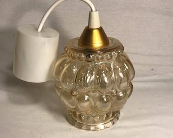 Hanging chandelier ceiling light glass gold Vintage 70s