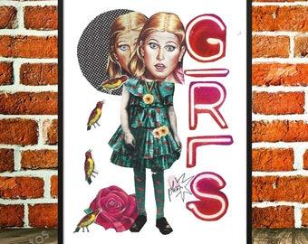 Original collage, displays surreal, girls, girl, pop art, art and collections, teenager, minimalist Collage, birds, humor, 'Girls'