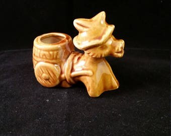 Glazed Brown Donkey Toothpick Holder