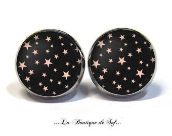 Stud Earrings with cabochon 12 mm * Star * (101216)